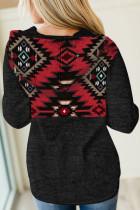 Felpe con cappuccio con stampa geometrica tribale nera con tasca