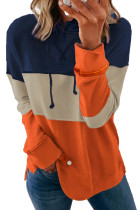 Felpe casual con cappuccio a righe color block arancione con coulisse