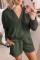 Зеленая вафельная текстура с капюшоном и шортами с v-образным вырезом и длинным рукавом, состоящая из двух частей, домашняя одежда