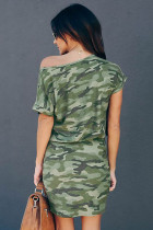 فستان أخضر قصير الأكمام كامو بكتف واحد
