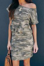 فستان قصير بأكمام قصيرة بكتف واحد