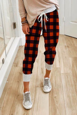 Red Plaid Drawstring Joggers