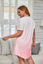 Rosa gradient kort erme pluss størrelse mini kjole