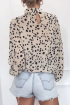 Beige Mock Neck Lantern Sleeve Fashion Print Bluse