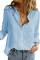 Camisa básica com textura azul celeste sólida