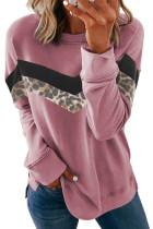 Felpa color block girocollo con stampa leopardata rosa