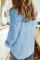 Небесно-голубая фактурная однотонная базовая рубашка