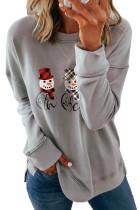 Серый рождественский свитшот с заниженными рукавами и принтом снеговика