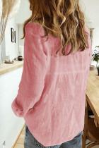 Розовая фактурная однотонная базовая рубашка