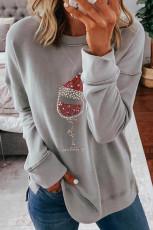 قميص من النوع الثقيل للكريسماس مطبوع بأكمام رمادية