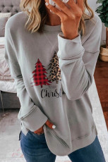 Leopard Splicing Plaid Christmas Tree Print Sweatshirt