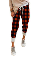 Pantaloni da jogging scozzesi rossi con coulisse