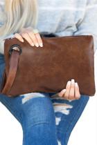 حقيبة كلاتش يومية كبيرة الحجم باللون البني