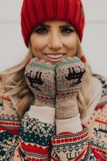 Khaki Christmas Reindeer Print Knit Hansker