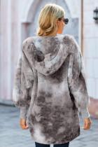 Otevřený přední kabát s kapucí s kapucí a šedým kravatým dye Soft Fleece