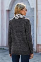 Pulôver de bolso com capuz e pesponto de leopardo cinza pescoço canguru