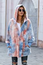 Пальто из мягкого флиса с капюшоном и открытой передней частью Tie Dye