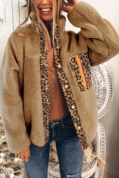 معطف صوف مشمش بنقشة جلد الفهد