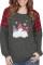Grå skandinaviske nisser Print Plaid Christmas Sweatshirt