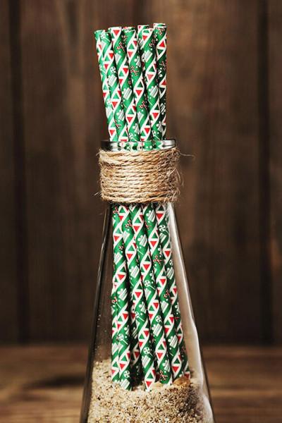 Grønt juletrykk Drikkehalm