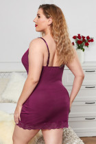Purple Lace Splicing Sexet Plus Size Lingeri