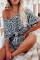 طقم بيجاما قصيرة بأكمام ملفوفة وطبعة جلد الفهد رمادي
