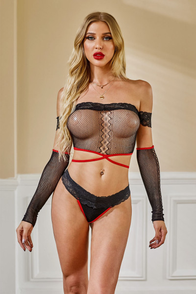 Conjunto de bralette sexy com malha de renda preta