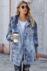 Otevřený přední kabát s kapucí Blue Tie Dye Soft Fleece s kapucí