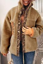 Meruňkový leopardí patchworkový fleecový kabát