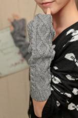 قفازات محبوكة نصف اصبع رمادية طويلة