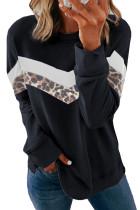 أسود هودي بطبعة جلد الفهد