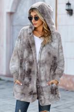 Пальто с открытой передней частью из мягкого флиса с капюшоном Grey Tie Dye