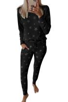 Conjunto de pijama com cordão e bolso com estampa Black Star