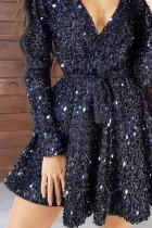 فستان سهرة أسود ترتر عميق على شكل V كم طويل مع ربطة خصر