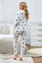 Star Print Zipper Collar Long Sleeve Top dan Jogger Loungewear Set