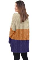 Suéter marrom Colorblock Cable Knit com fendas