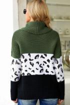Grønn Turtleneck Splicing Chunky Knit Pullover Genser