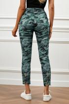 Grøn camouflage Udhulede tynde jeans med lomme