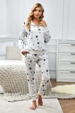Star Print glidelås krage langermet topp og jogger loungewear sett
