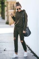 Leopardo verde recortado roupas esportivas com capuz desgastadas
