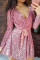 Pink Sequin Deep V Long Sleeve Evening Dress with Waist Tie