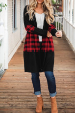 Pletený svetr Black Colorblock Buffalo Plaid Knit