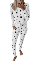 White Star Print Pocket Drawstring Pajama Set