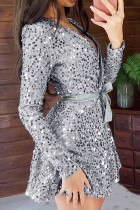 لباس شب آستین بلند Sequin خاکستری عمیق V با کراوات کمر