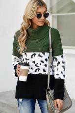 Sweater Rajut Tebal Turtleneck Splicing Hijau