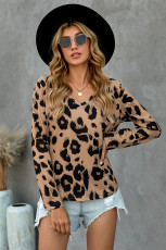 Brown Casual Leopard Print Long Sleeves T-shirt