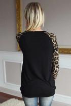 Top de manga comprida leopardo em volta do pescoço lantejoulas