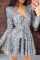 Gray Sequin Deep V Long Sleeve Evening Dress with Waist Tie