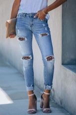Leopard Print Patchwork Frayed Skinny Jeans