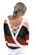 Svetr Red Crisscross V Back Hollow-out Knit
